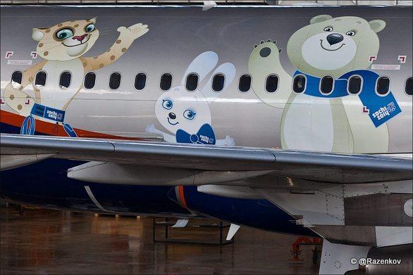 Талисманы Сочи рисуют на самолетах Аэрофлота